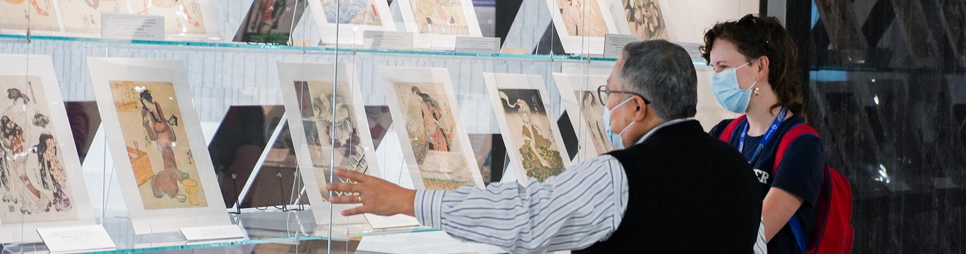 Librarian showing exhibit