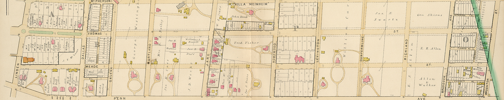 1890 section of map that includes Thomas Blvd.