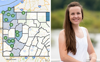 sample of an iMapinvasives map and Amy Jewitt, Invasive Species Coordinator from the Western Pennsylvania Conservancy