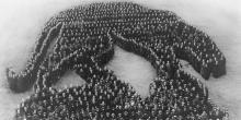 Nearly 5,000 students assembled to form the Living Panther to show Pitt Spirit. April 1920